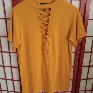 Lace Up Mustard Top